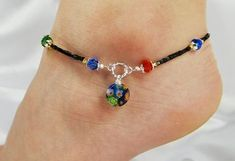 Anklet, Ankle Bracelet, Millefiori Dangle, Red Blue Green Yellow Black, Swarovski Crystal, Colorful, Customizable, Vacation, Beach, Cruise