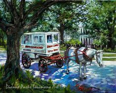 Roman Candy, The Taffy Man, Candy Man Seller, Horse and Carriage, New Orleans Canvas or Print, New Orleans Art, by New Orleans Artist