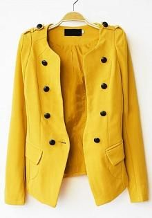 Yellow Long Sleeve Pads Shoulder Double Breasted Slim Blazer - Sheinside.com