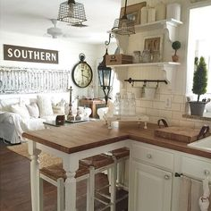 chic kitchen Decor Steals is a daily deal home decor store featuring CRAZY deals on Vintage decor, Rustic decor, Farmhouse Decor, Industrial Decor and Shabby Chic decor! Grab your morning coffee everyday at EST & come Join us! Cocina Shabby Chic, Shabby Chic Farmhouse, Farmhouse Kitchen Decor, Shabby Chic Homes, Country Kitchen, Farmhouse Style, Farmhouse Design, Modern Farmhouse, Farmhouse Ideas