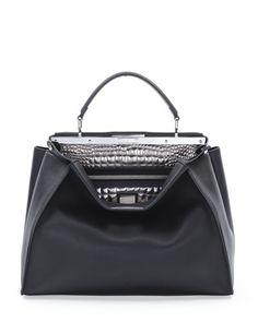 V21N4 Fendi Peekaboo Large Croc-Stitched Satchel Bag, Black/Silver