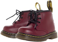 DR MARTENS KIDS BROOKLEE B BOOT CHERRY Your kid came here to take names and chew bubblegum and they are all out of bubblegum! Similar to the Brooklee, these classic styled 4-eye docs feature the famous air-cushioned sole are a miniature version of the first pair you owned. These soft cherry leather boots are constructed with Dr. Martens signature yellow stitching and heel loop. The only difference is there is a zipper on the side for easy on and off! $65.00 #kids #drmartens #boots #punkkids