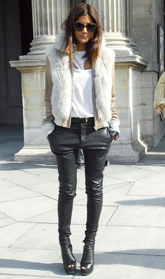 Leather jeggings, fur vest, awesome.