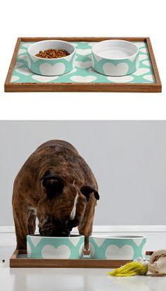 Mint heart love // cute pet bowls #designer_pet
