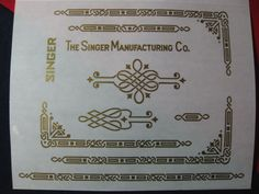 Adhesive gold DECALS for Singer Featherweight 221 sewing machine #singer  I want this in EMBROIDERY DESIGNS.