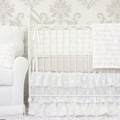 Vintage Style Baby Bedding from Caden Lane - love the sweet messages on this crib sheet!