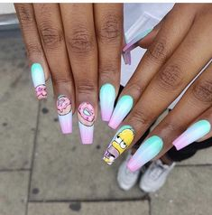 Try some of these designs and give your nails a quick makeover, gallery of unique nail art designs for any season. The best images and creative ideas for your nails. Acrylic Nails Natural, Summer Acrylic Nails, Best Acrylic Nails, Natural Nails, Summer Nails, Cute Nail Designs, Acrylic Nail Designs, Cartoon Nail Designs, Fingernail Designs