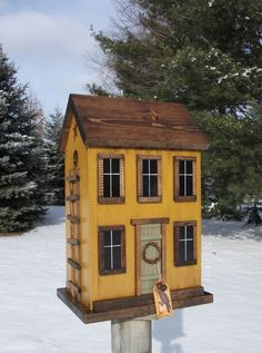 Folk Art Primitive Grungy Yellow Saltbox by HarmonsCountryCrafts, $74.99