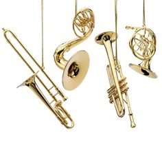 Brass instruments, or horns, come in different shapes in sizes to create unique sounds. They include trumpets, french horns, and trombones.
