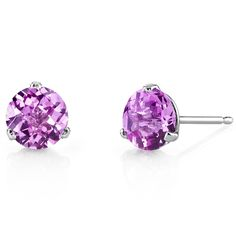 MSRP: $399.99  Our Price: $199.99  Savings: $200.00    Item Number: E18462    Availability: Usually Ships in 5 Business Days    PRODUCT DESCRIPTION:    These beautiful earrings for her feature vibrant Lab Created Pink Sapphires with a Fuchsia Pink Hue with Brilliant Sparkle in 14k White Gold and are essential for any girl's jewelry collection. These gorgeous studs are fashioned into sleek white gold three-pronged martini settings. Fit is secure and comfortable with post-tension earrings…