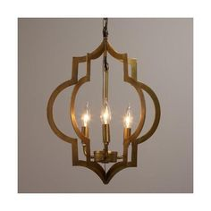 Cost Plus World Market Gold Quatrefoil 3-Light Pendant Lamp ($100) ❤ liked on Polyvore featuring home, lighting, ceiling lights, gold chandelier, antique gold lamp, gold chandelier lighting, gold lamp and gold lights