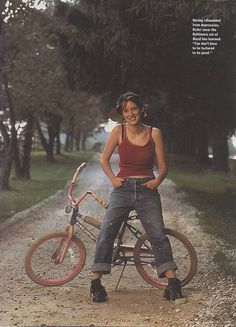 Adorable Winona Ryder and her bike