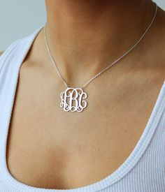 Monogram necklace - 925 Sterling Silver Monogram Necklace - 2 inch - %100 Handmade. $44.99, via Etsy.