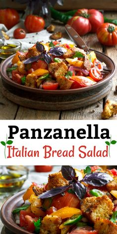 Panzanella Salad is a rustic Italian tomato and bread salad famous in the Tuscany area of Italy. It includes peppers, onions, and olives. It's dresses simply with wine vinegar and olive oil. #panzanella_salad, #Italian_bread_salad, #rustic_salad, #Tuscan_salad, #bread_salad