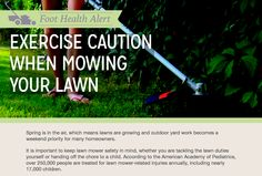 Read more about foot and ankle safety when mowing the lawn this spring! Podiatry, Surgery, Read More, Lawn, Safety, Ankle, Spring, Security Guard, Wall Plug