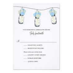 Hydrangea & Mason Jar Wedding RSVP Card