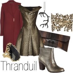 """Thranduil"" by ja-vy on Polyvore I don't exactly like the jacket but everything else would be fun to wear"