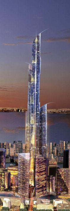 Burj Mubarak Al Kabir Tower, Madinat Al Hareer, Kuwait by CivicArts / Eric R. Kuhne and Associates / Atkins Architects :: 234 floors, height 1001m :: vision