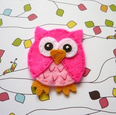 1pc -  Deep Pink Owlet Felt Applique -  55x45mm - made to order. $1.70, via Etsy.