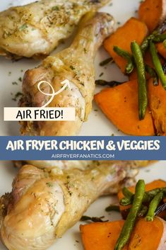 Make a great meal in 25 minutes with this Air Fryer Chicken Drumsticks with Vegetables. This is a great one-dish dinner all made in the air fryer!
