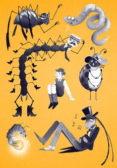 some drawings for a James and the Giant Peach cover i probably won't use