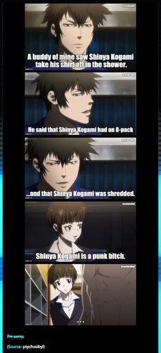 Psycho-Pass | Shinya Kogami x Akane Tsunemori funny meme by psychosibyl.tumblr.com