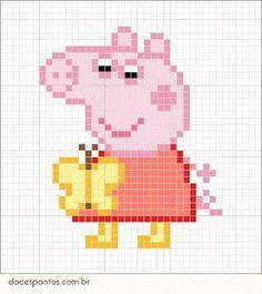 Cross Stitch Patterns Peppa Pig - As crianças adoram! Peppa Pig, Hama Beads Patterns, Beading Patterns, Embroidery Patterns, Cross Stitch For Kids, Simple Cross Stitch, Perler Bead Art, Perler Beads, Beaded Cross Stitch