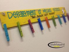 Custom, Hand-Painted DEPARTMENT of MISSING SOCKS wooden sign with clothespins Cute Laundry Room Sign on Etsy, $40.00