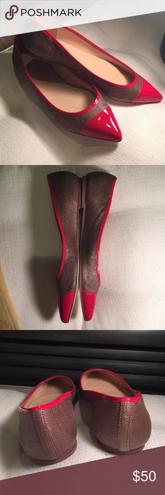 Talbots Pointy Flats Red Shiny Patent and brown fabric weave flats. Worn a bunch , but with a ton of life left. They look new from the top. Wear is shown on bottom. So pretty Talbots Shoes Flats & Loafers