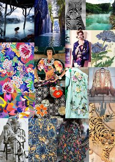 Eastern travels inspire the studio. From folkloric florals inspired by traditional Japanese art to the distinctive print of a wild ocelot. The studio looked to Japan for Resort The Matthew Williamson Resort 2017 mood board. Eastern Travel, Traditional Japanese Art, Resort 2017, Matthew Williamson, He's Beautiful, Story Starters, Ocelot, Colours, Mood