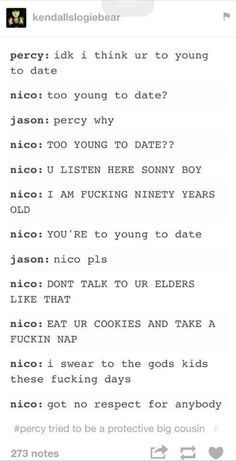 nico, percy, and jason. This is the funniest thing ever! Percy Jackson Fandom, Percy Jackson Head Canon, Percy Jackson Ships, Percy Jackson Characters, Percy Jackson Quotes, Percy Jackson Fan Art, Percy Jackson Books, Fictional Characters, Rick Riordan Series