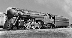 New York Central.  Streamlined  4-6-4 Hudson steam locomotive was one of several which pulled  the legendary 20th Century Limited.  Built 1938.  Streamline Art-Deco design by Henry Dreyfuss.