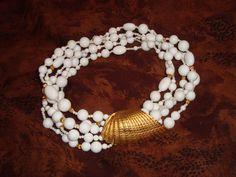 "Les Bernard Signed Runway 5 Strand White Lucite & Gold Conch Shell Necklace 17"" #LesBernard #Torsade"