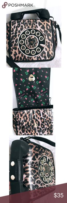 BETSEY JOHNSON TELEPHONE PURSE WITH CORD Beautiful Betsey Bag, with a cord that can play through the telephone's speaker. Betsey Johnson Bags Totes
