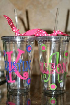 Personalized acrylic cups with initial and name. $10.00, via Etsy.