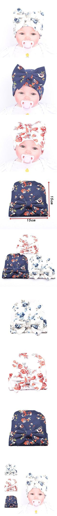 Ever Fairy Infant Baby Girls Floral Print Nursery Newborn Hospital Hat Cap with Big Bow (3 Color(Pink+Blue+Deep Blue))