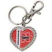 Nebraska Cornhuskers Silvertone Heart Keychain