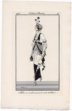 Henry Fournier 1913 Journal des Dames et des Modes Costumes Parisiens Pochoir N°93