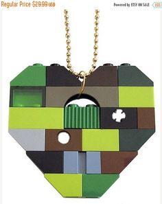 ON SALE SWAG Hip Hop Camo necklace  Chunky heart pendant #MademoiselleAlma #LEGO #ETSY