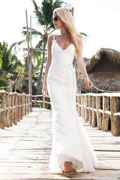 Spaghetti Straps Lace Trumpet Natural Waist Sash Beach Wedding Dress