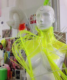 fluorscent Textile Design, Fabric Design, Conceptual Fashion, Burning Man Outfits, Textiles Techniques, Recycled Jewelry, Sculptural Fashion, Fashion Art, Fashion Design