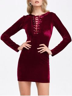 DEEP RED Velvet Lace-Up Long Sleeve Short Bodycon Dress S