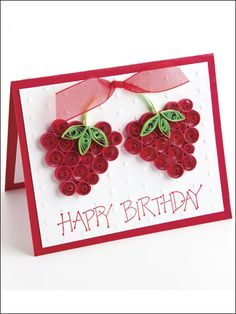 Berry Happy Birthday Paper Crafting Pattern Download from e-PatternsCentral.com -- Send cheery birthday greetings bright with the fresh promise of summer on a beribboned, quilled card.