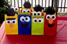 "These Sesame Street DIY bags are ADORABLE!  Great for Back to School Night or for a ""Monster Party"" for #Kindergarten or #Preschool"