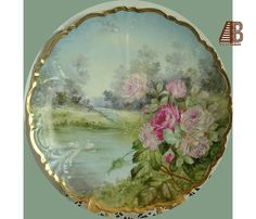 Austrian Plate Painted Roses Swans on Pond Landscape Gilt Decorative Imperial Crown China epsteam