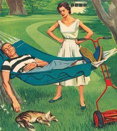 "Sleeping on the job...a honey-do list ""Don't!"" ~ Ward Brackett, May 29, 1955."