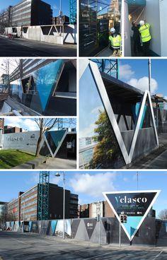 Velasco Hoarding - Clanwilliam, Dublin Ireland on Behance Brand Building, Building Design, Hoarding Design, Property Ad, Construction Branding, Eco City, Sign System, Outdoor Signage, Billboard Design