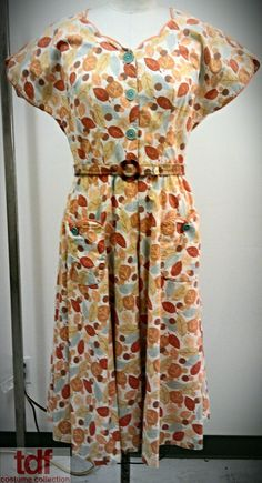 The Fall (though NYC Fall is practically non-existent). This cute house dress with the fall leave pattern. The matching belt is equally adorable, however you'd need to wear something underneath as it does seem warm enough for the cool evenings that are to come. #TDFCC #KeepingUpWithTheCostumes #1940s