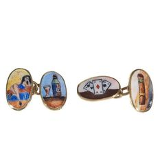 Enamel Gold Four Vices Cufflinks   From a unique collection of vintage cufflinks at https://www.1stdibs.com/jewelry/cufflinks/cufflinks/
