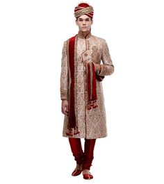 Off White & Maroon Embroidered Brocade Silk Sherwani Wedding Sherwani, Indian Ethnic, Off White, Silk, How To Wear, Women, Women's, Woman, Silk Sarees